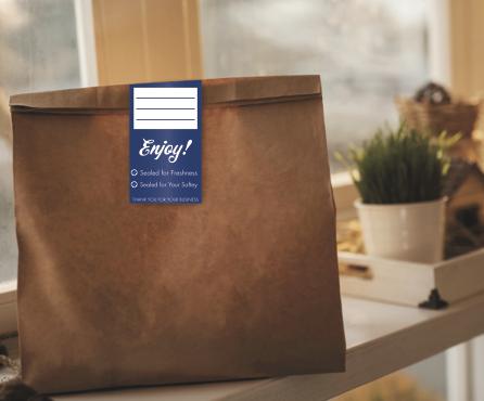 Tamper Proof Label on a food delivery bag